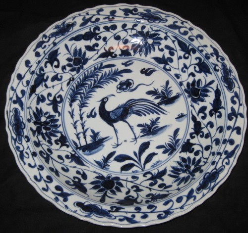 BIG CHINESE PORCELAIN BIRD&FLOWER,...
