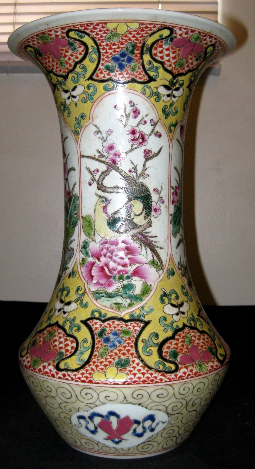 ANTIQUE-CHINESE-PORCELAIN-FLOWER-BIRD-VASE-19TH-C-QING-DYNASTY-YONGZHEN MARK