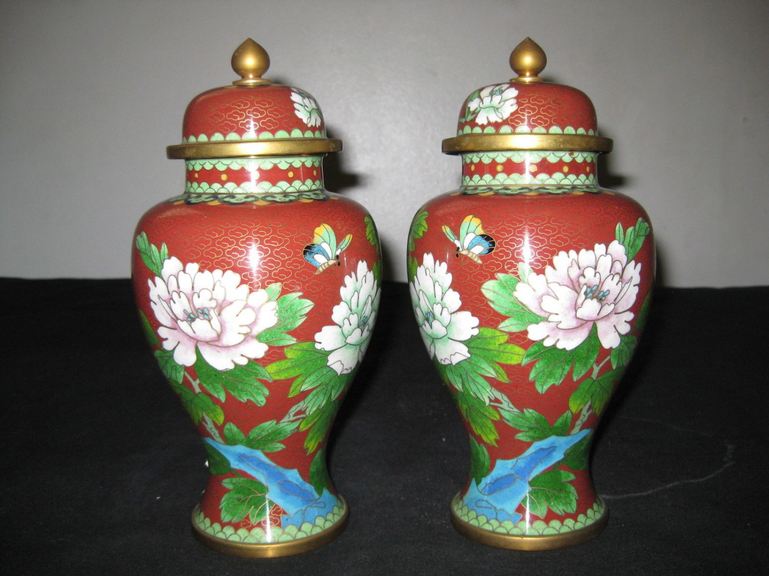 Antique Chinese Pair Cloisonne Enamel Floral Vases With Lid .
