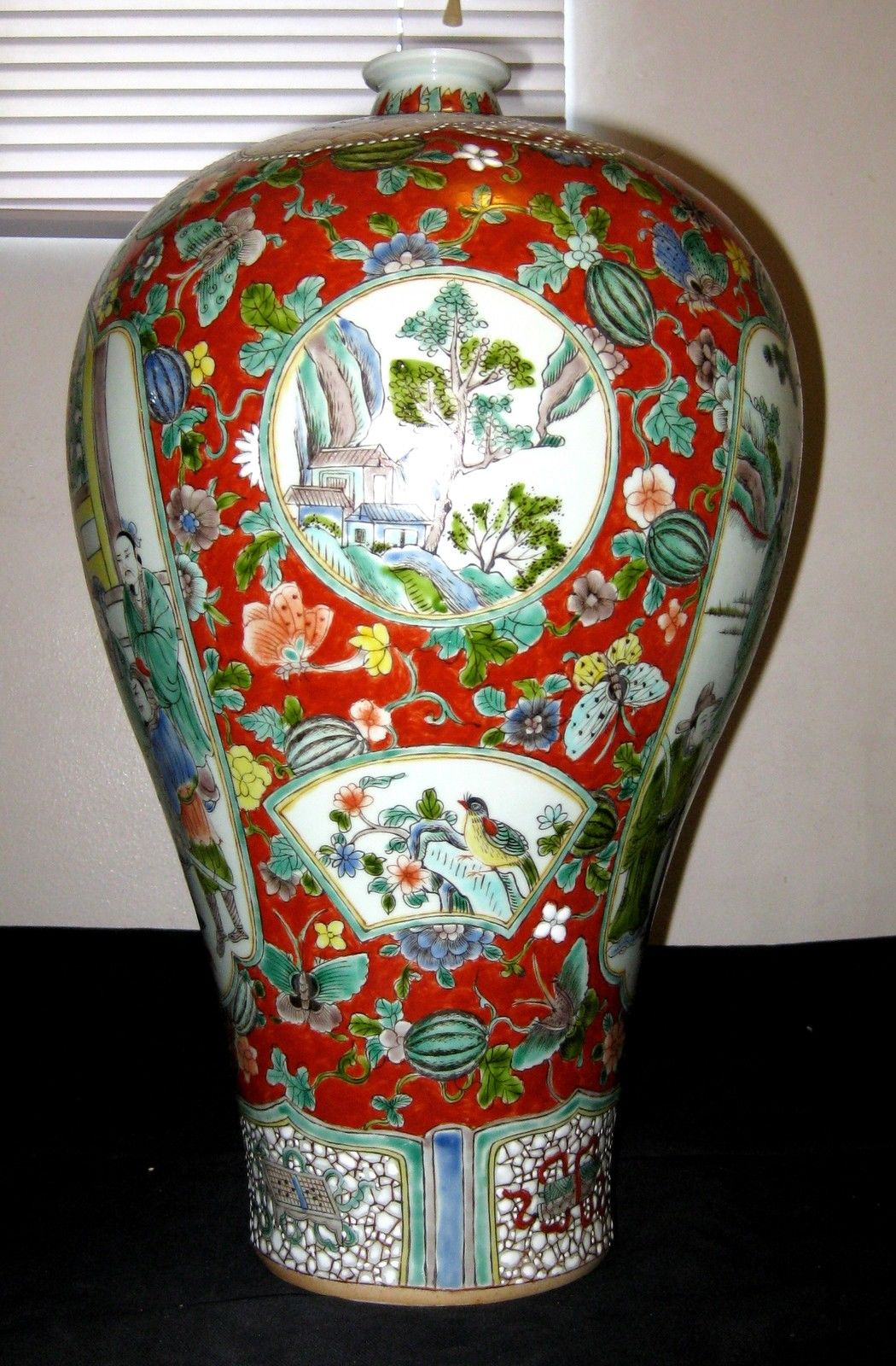 Antique Chinese Porcelain Red Ground Meiping Vase 19th