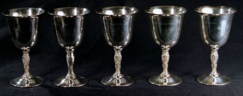 ANTIQUE 5 PIECES SILVER Plt WINE GOBLETS EAGLE WM ROGERS STAR