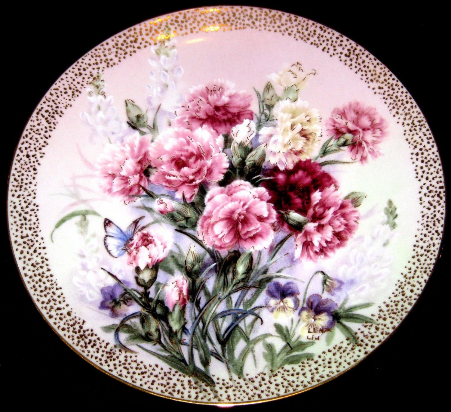 Carnation Serenade by Lena Liu /Symphony of Shimmering Beauty 1992-Plate # 4022A
