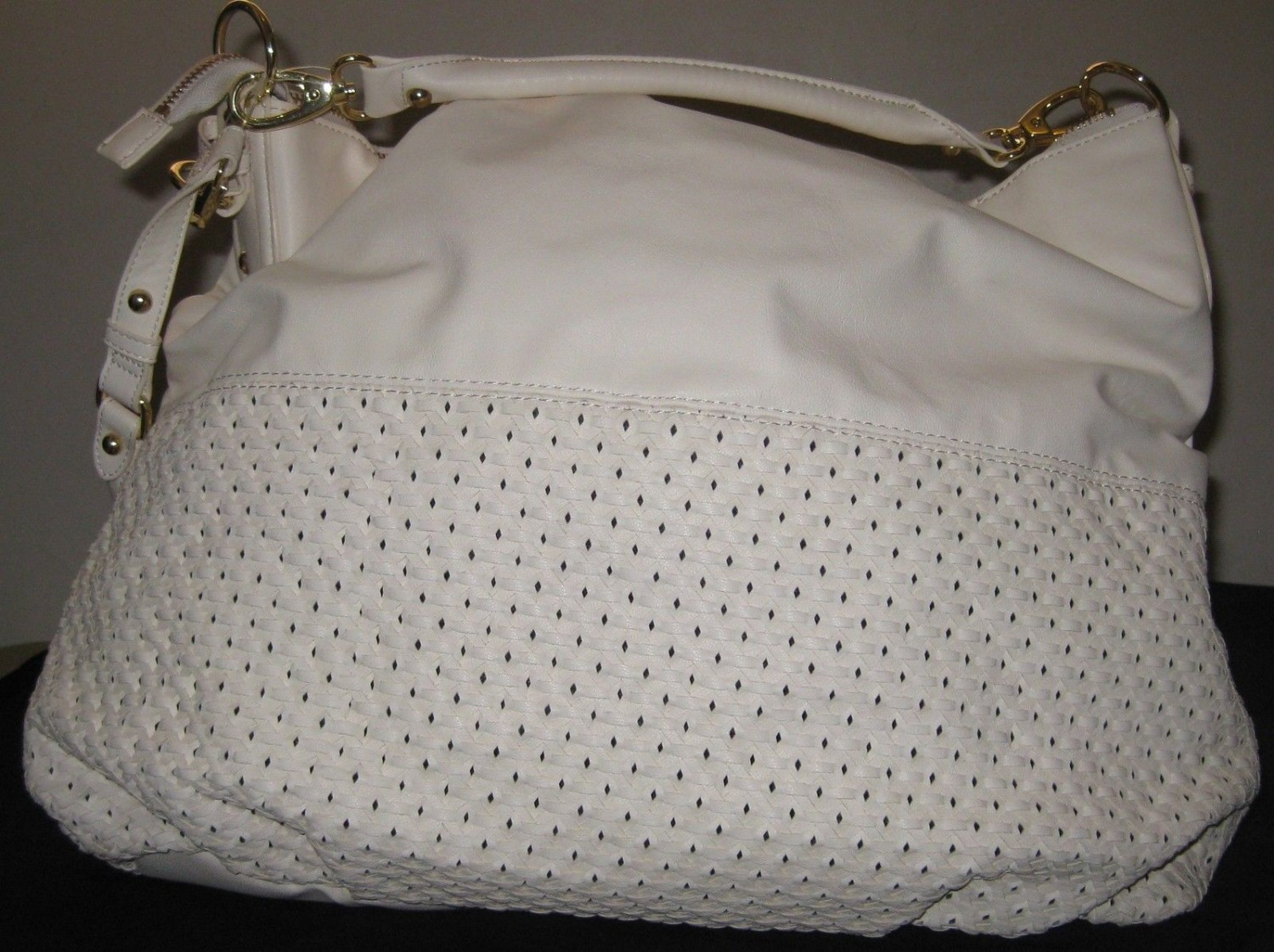 Steve Madden Big Weaved Convertible Satchel White color XL
