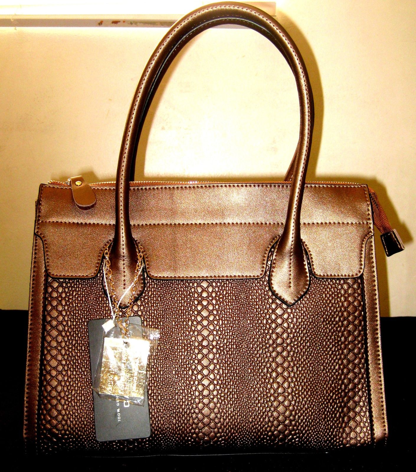 100% Genuine Italy Top Great Cowhide In Snakeskin, Bronze Color Leather Tote