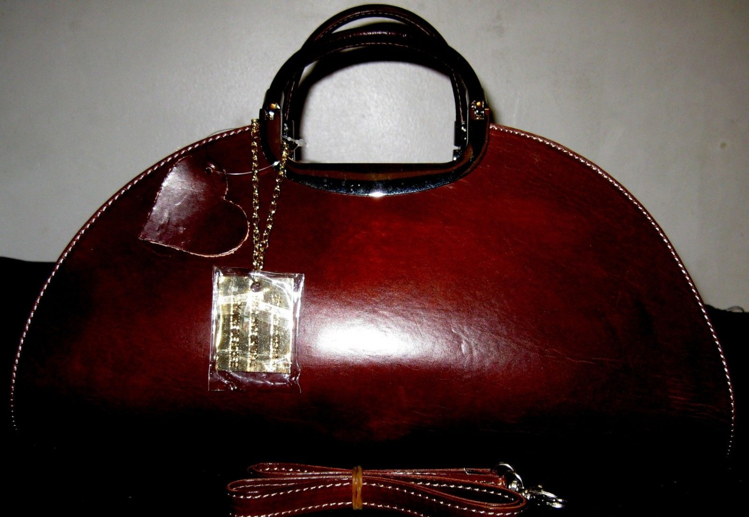 100% GENUINE ITALIAN COW LEATHER HANDBAG BELFAST CASTEL BROWN
