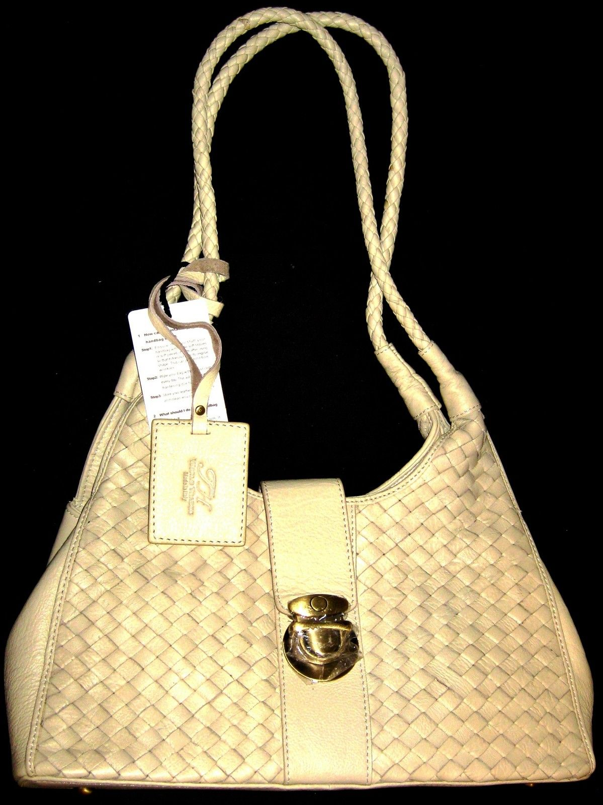 Italy Katy Beige Woven Top Grain cow Leather Handbags, NR.