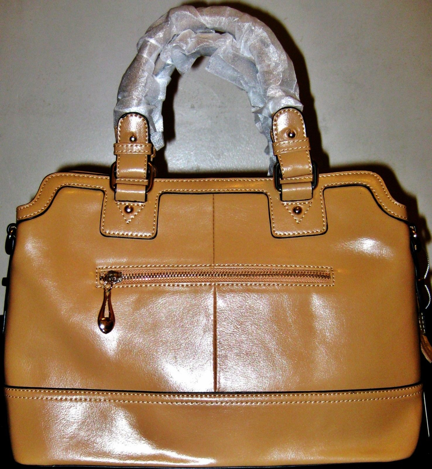 100% ITALY COWHIDE CAMEL LEATHER HANDBAG