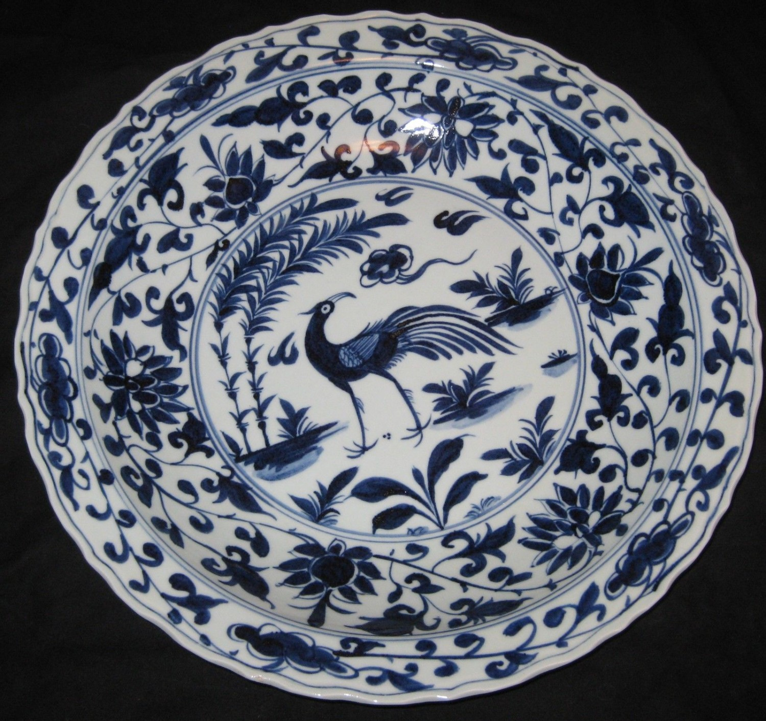 BIG CHINESE PORCELAIN BIRD&FLOWER, 44.5 CM B&W CHARGER, 19TH C,XUANDE MARK.