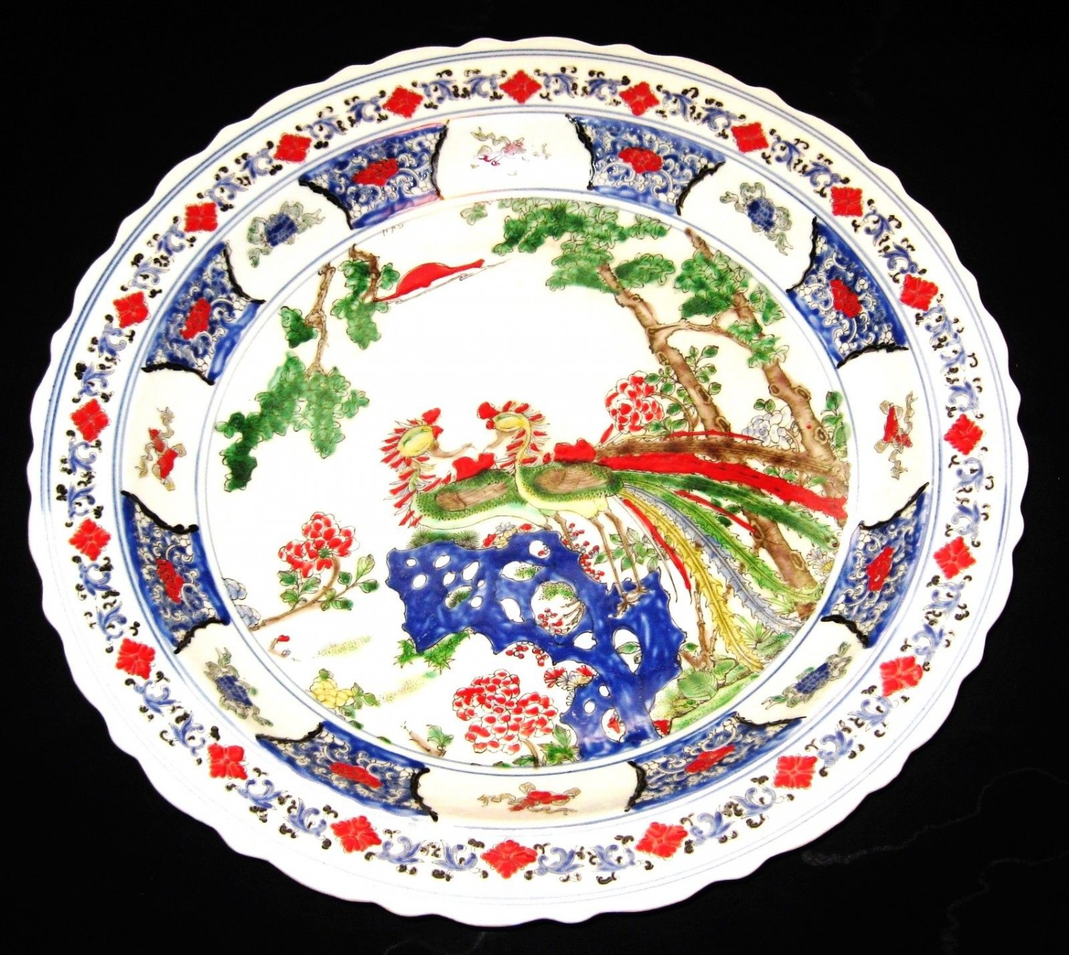 CHINESE PORCELAIN DOUBLE PHOENIX CHARGER 45 CM, HAND PAINTED KANG -XI MARK,